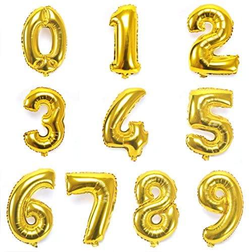"Numbers 0 to 9 Gold Foil Balloon 14"" in and 34"" in each. (Choose your size and your number)"