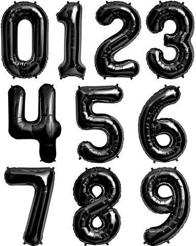 "Numbers 0 to 9 Black Foil Balloon 34"" each. (Choose your number)"