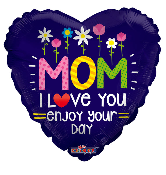 Mom With Flowers Gellibean Foil Balloon 18""