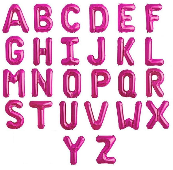 "Letters A to Z Hot Pink Foil Balloon - 14"" in each. (Choose your letter)"