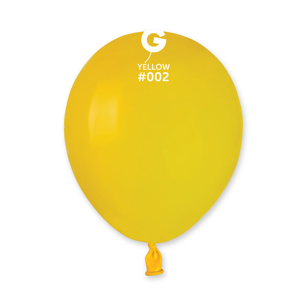 Solid Balloon Yellow A50-002  | 100 balloons per package of 5'' each