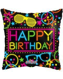 "Neon Happy Birthday Themed Foil Balloon - 18"" in."