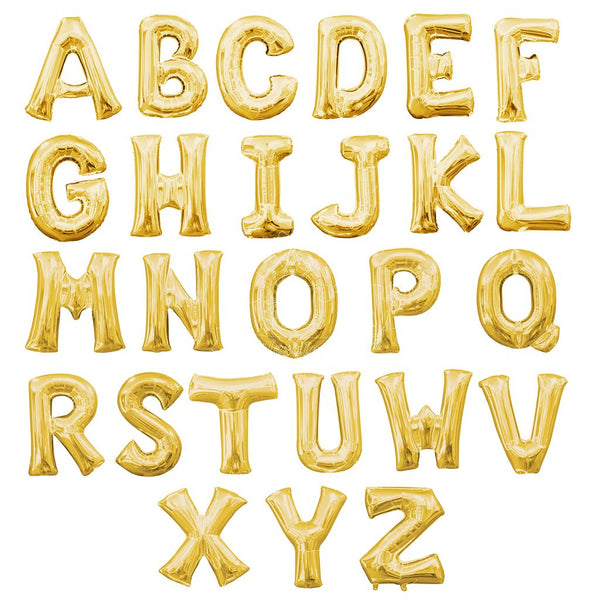"Letters A to Z Gold Foil Balloon - 14"" in and 34"" in (Choose Size And Letter)"