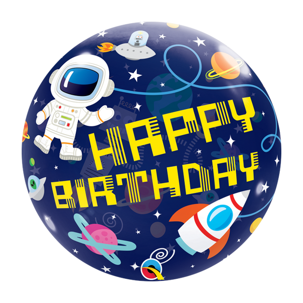 Outer Space Happy Birthday Bubble 22""