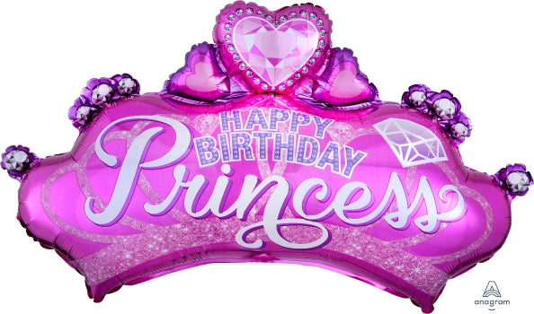 Princess Crown With Gem SuperShape Foil Happy Birthday