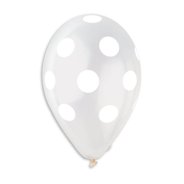 Polka Solid Balloon Clear-White GS110-157 | 50 balloons per package of 12'' each