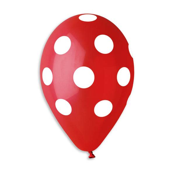 Polka Solid Balloon Red-White GS110-157 | 50 balloons per package of 12'' each