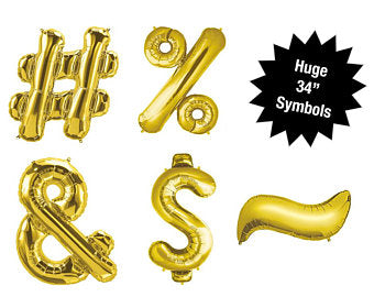 Symbol Balloons in Gold ( Choose Your Symbol ) #, @, ?, &