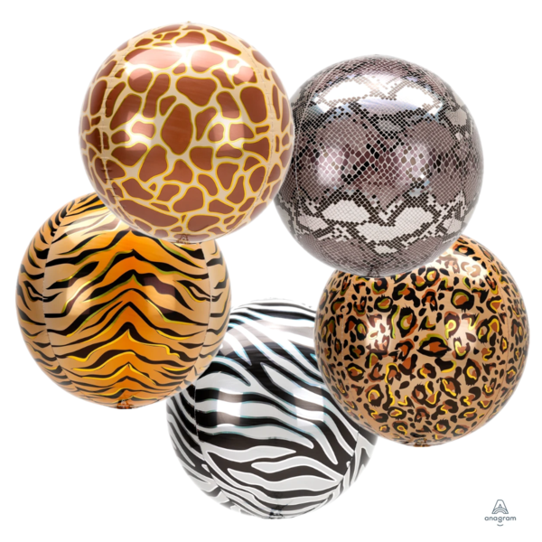 "Animal Print Orbz 16"" in - Foil Balloon (Choose your theme)"