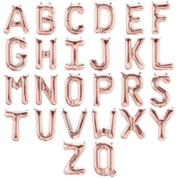 "Letters A to Z Rose Gold Foil Balloon - 14"" in and 34"" in (Choose Size And Letter)"