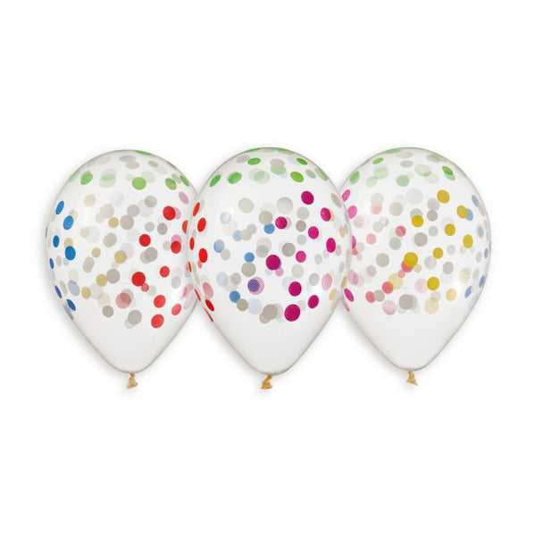Confetti Solid Balloon Clear-Colorful GS120-816 | 50 balloons per package of 13'' each