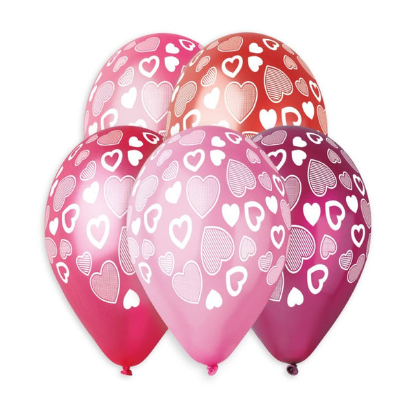 "GMS120 Metallic Colors Heart Balloons #917 12"" 50 Pcs"