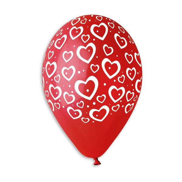 "GS110 Solid Red Heart Balloons #600 12"" 50 Pcs"