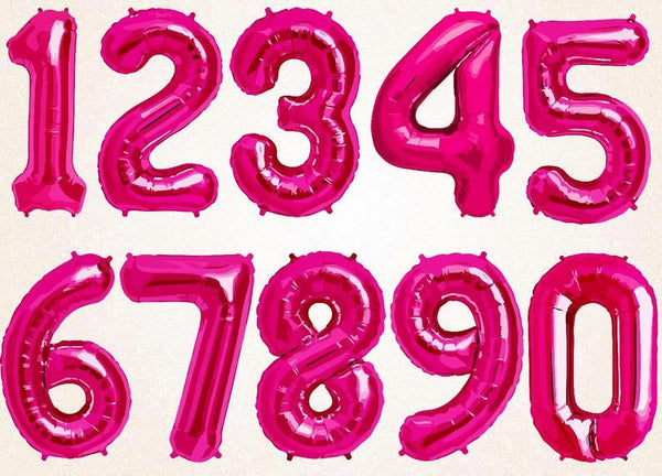 "Numbers 0 to 9 Hot Pink Foil Balloon 16"" in and 34"" in each (Choose your size and your number)"