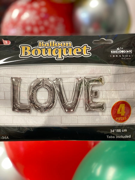 "34″ Bouquet Love Silver – Assortment 34"" 4 Pcs"