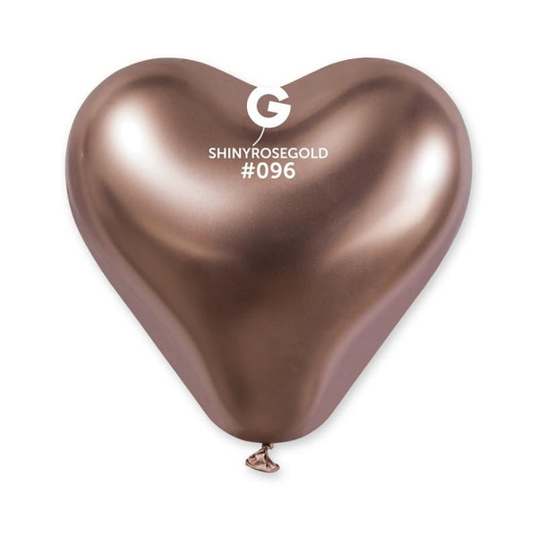 Shiny Rose Gold Heart Shaped Balloon 12 in.