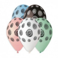 Spiral Dots Printed Balloon GS120-864 | 50 balloons per package of 13'' each