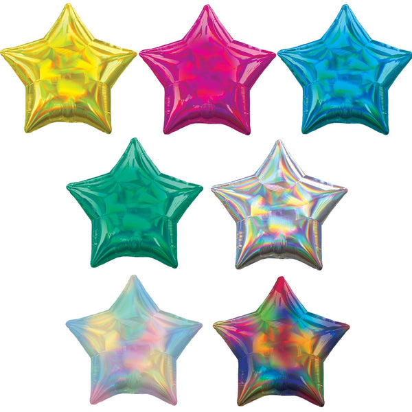 "2 Iridescent Star Shaped Foil Balloon 18"" Package (Choose your color)"