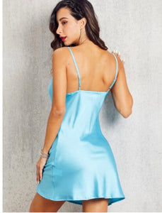 GLAMMED UP SATIN DRESS (SKY BLUE)
