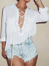 Load image into Gallery viewer, White Lapel Bandage Pockets Blouse - RoyalRaine