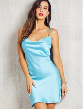 Load image into Gallery viewer, GLAMMED UP SATIN DRESS (SKY BLUE)