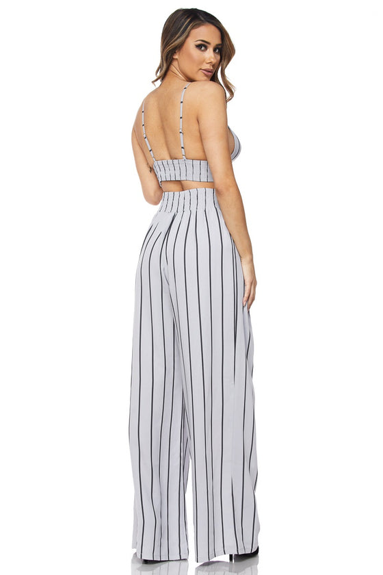 Stripe Crop Top Pants Set