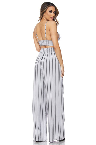Stripe Crop Top Pants Set - RoyalRaine