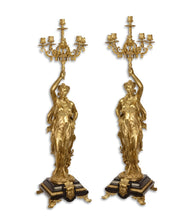 Load image into Gallery viewer, A pair of six light gilt bronze candelbra
