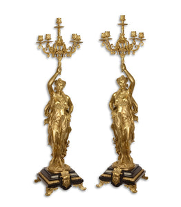 A pair of six light gilt bronze candelbra