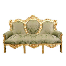 Load image into Gallery viewer, Barok Sofa Milano  Goud Bloem  Green Melon