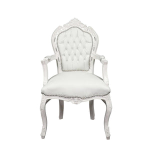 Baroque arm chair white white leder look