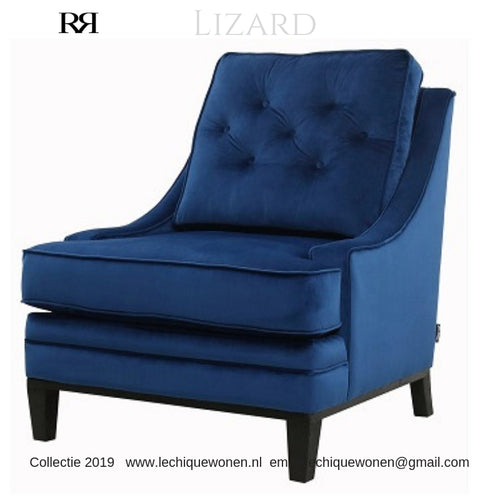 CLUB CHAIR LIZARD BLEU VELVET