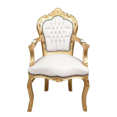 Baroque armchair gold white leather look