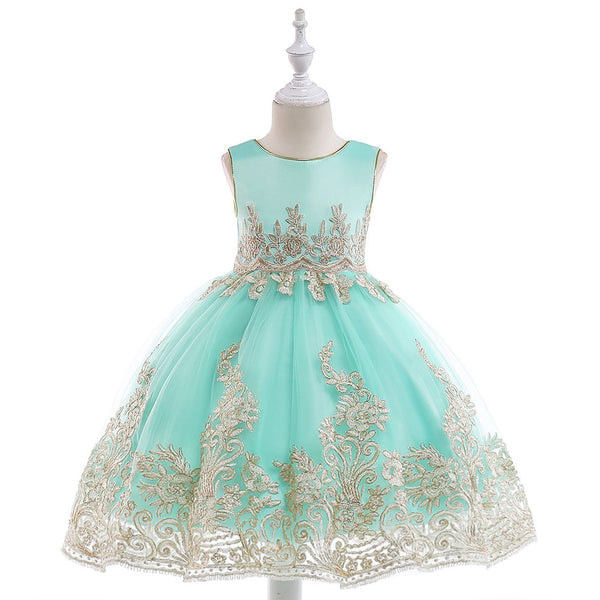 eab02fe7a5c14 2019 Embroidery Flower Summer Girls Dress Baby Girl Toddler Clothes Kids  Princess Wedding Party Dress Vestidos