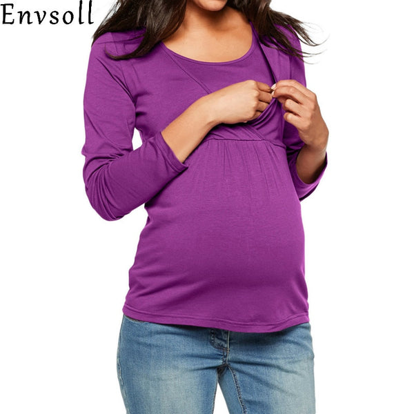 e8a8bd598c9b6 Envsoll Pregnancy Nursing Blouse Long Sleeves Maternity Clothes Hooded  Breastfeeding Tops Patchwork T-shirt for