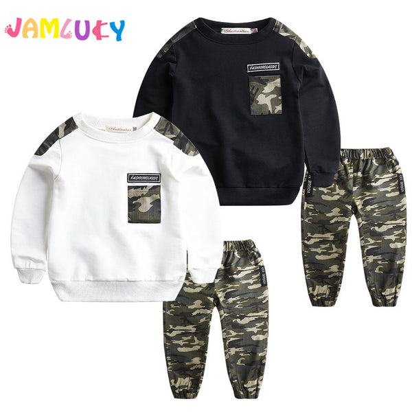 3903a53a1 Kids Boys Clothes Set Long Sleeve Spring T Shirt Top+ Camo Camouflage Pants  2Pcs Outfits Sports