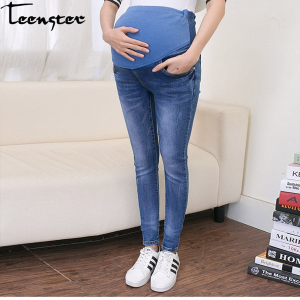 08fae6ff143e4 Teenster Maternity Clothes Pregnancy Trousers Broken Hole Jeans Summer Thin  Style Pregnant Pants Leggings Maternity Support