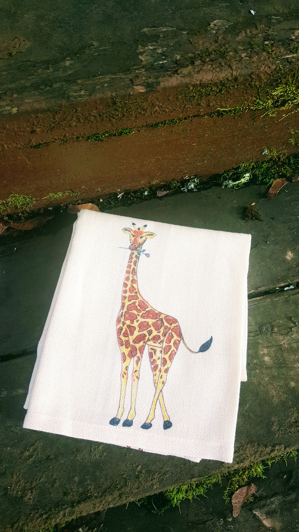 Giraffe Holding a Purple Rose Kitchen Towel
