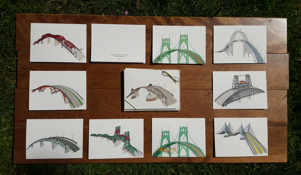 Portland Bridges Oregon Greeting Cards