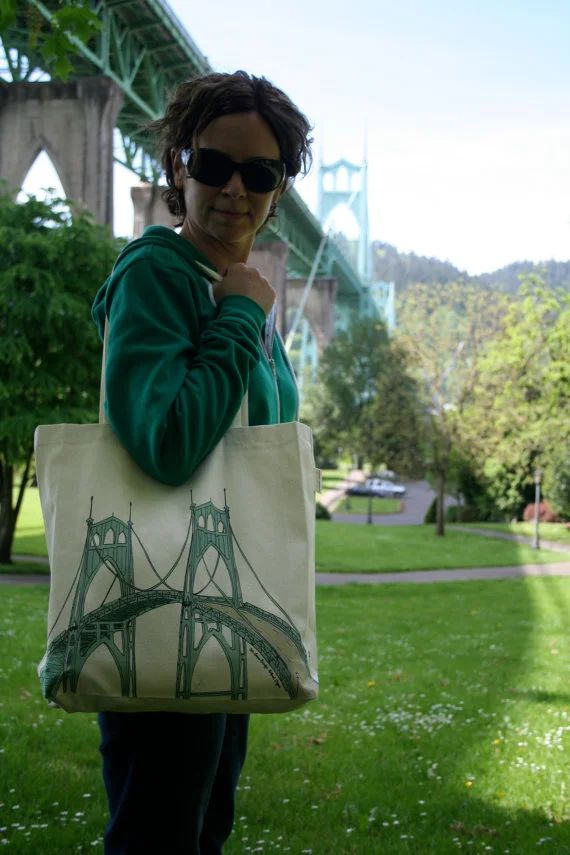 St. Johns Bridge Portland Oregon Canvas Shoulder Bag