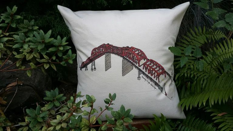 Broadway Bridge Portland Oregon Canvas Pillow Case