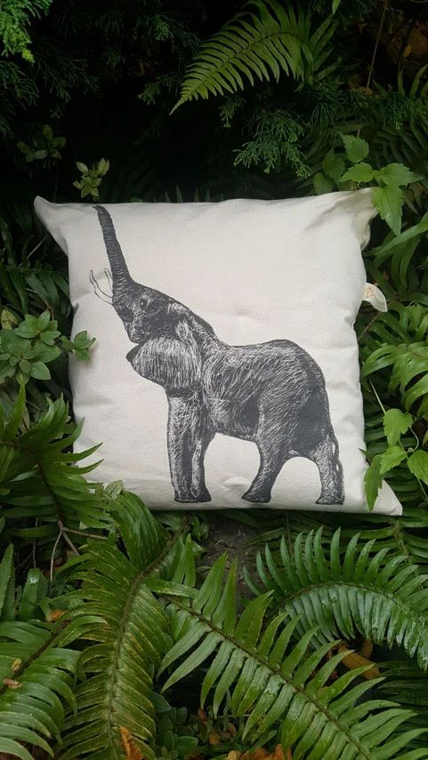African Elephant Canvas Pillow Case