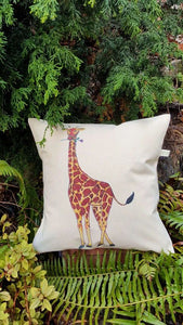 Giraffe Holding a Purple Rose Canvas Pillow Case