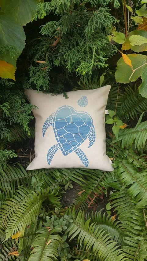 Sea Turtle Canvas Pillow Case