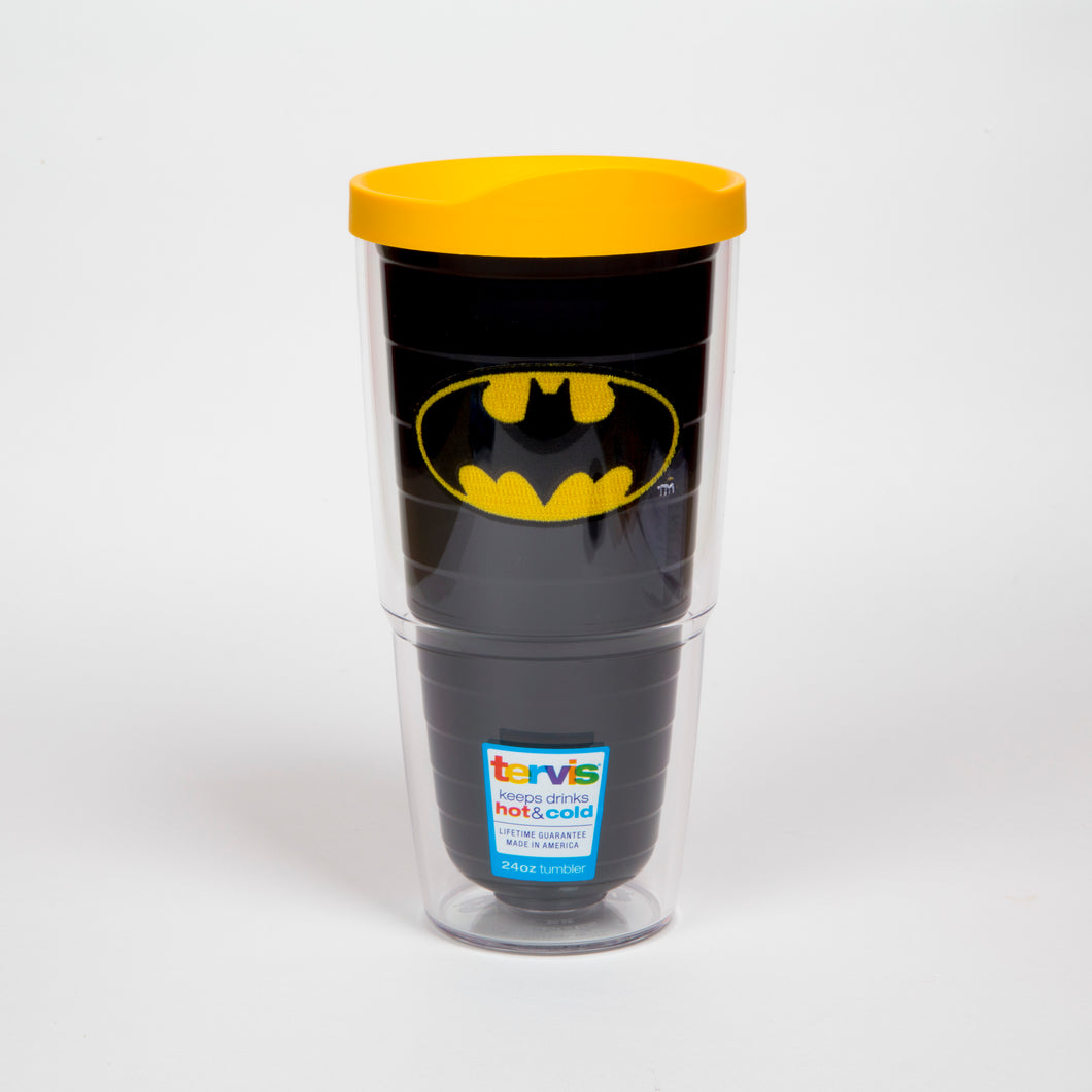 Batman 24oz Tervis Tumbler with batman embroidered logo and yellow lid