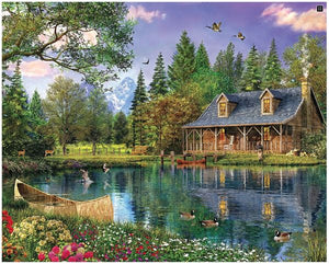 Mountain Cabin Puzzle - 1000 Piece Puzzle - White Mountain Puzzles - CEG & Supply LLC