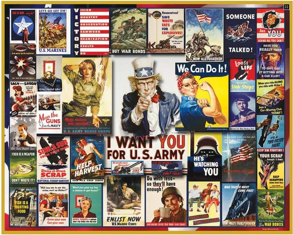 World War II Poster Collage Jigsaw Puzzle-White Mountain Puzzles - CEG & Supply LLC
