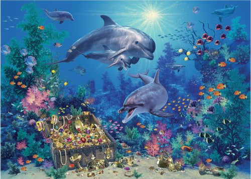 Dolphin Treasure - 100 PC Kids Puzzle, White Mountain Puzzles - CEG & Supply LLC