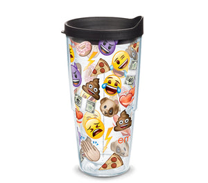 emoji collage, 24oz Tervis tumbler. Show your love for emojis. Made in USA with a lifetime warranty.