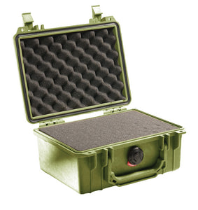 Green with foam Pelican 1150 Protector Case made USA with a lifetime warranty.